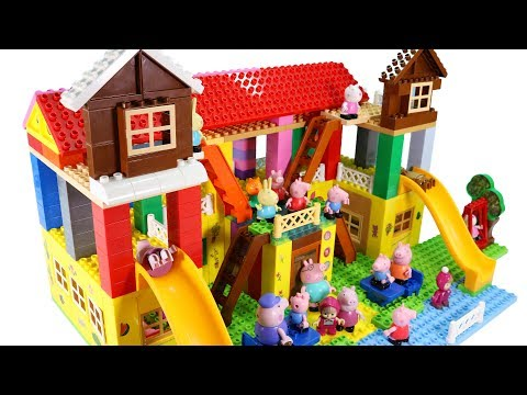 Peppa Pig Blocks Mega House Building Playset With Masha And The Bear LEGO Creations Sets Toys #2
