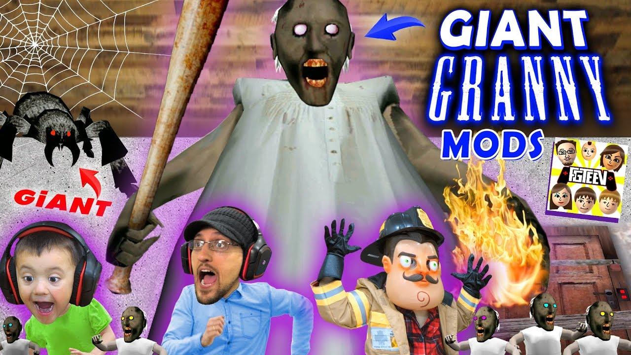 GIANT GRANNY MOD + TINY GRANNY STARTS FIRE (FGTEEV Skit  Gameplay)