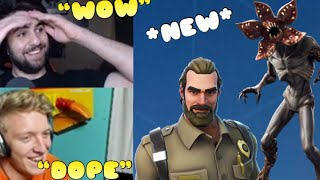 Streamers React to *NEW* Demogorgon and Chief Hopper skins - Fortnite Battle Royale