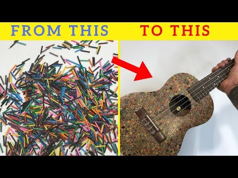 I made a UKULELE using thousands of small pencils 🎻