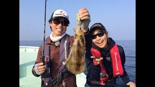 和歌山県は湯浅湾でペルビー貴子が広瀬達樹さんにティップランエギング...