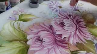 Pintura em Tecido – Aprenda pintar Crisântemo e Folhas
