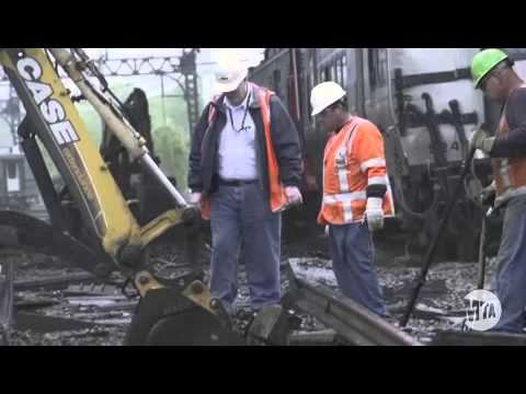 This video, provided by the Metropolitan Transit Authority, shows cleanup crews getting to work on the stretch of track that was destroyed by the train collision on Friday, May 17 in Bridgeport.