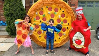 Zack Play with Giant Inflatable Pizza Toy