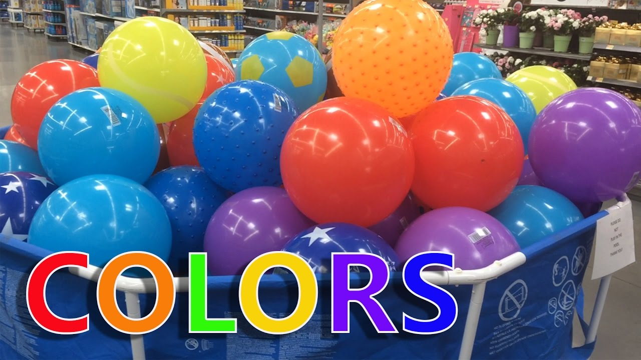 Learning Colors Huge Giant Balloons At Walmart Youtube
