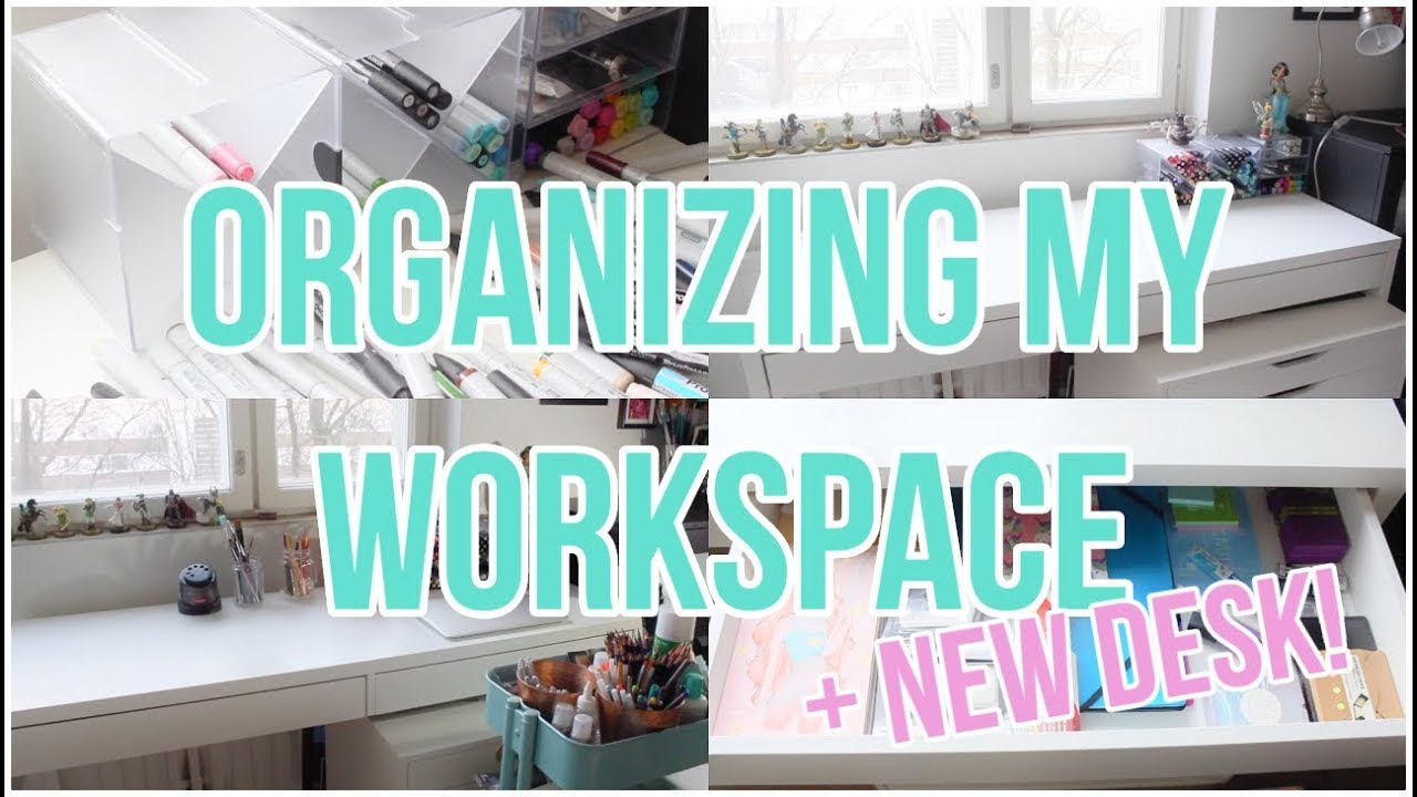 Organizing My New Workspace Desk Makeover Youtube