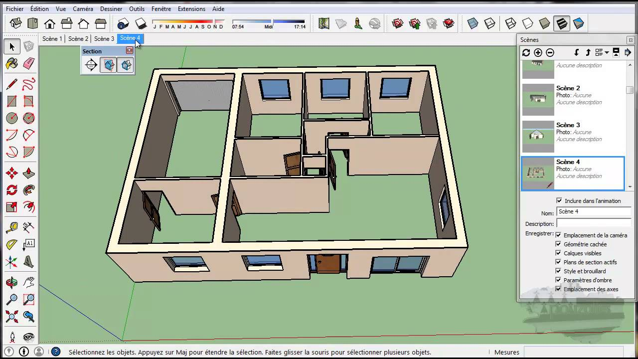 Tuto Google Sketchup Outil Plan De Section