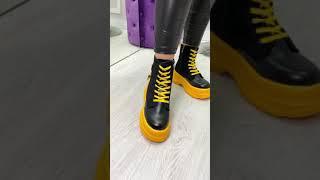 Ботинки женские чёрные жёлтые Baby эко кожа эко замша Деми