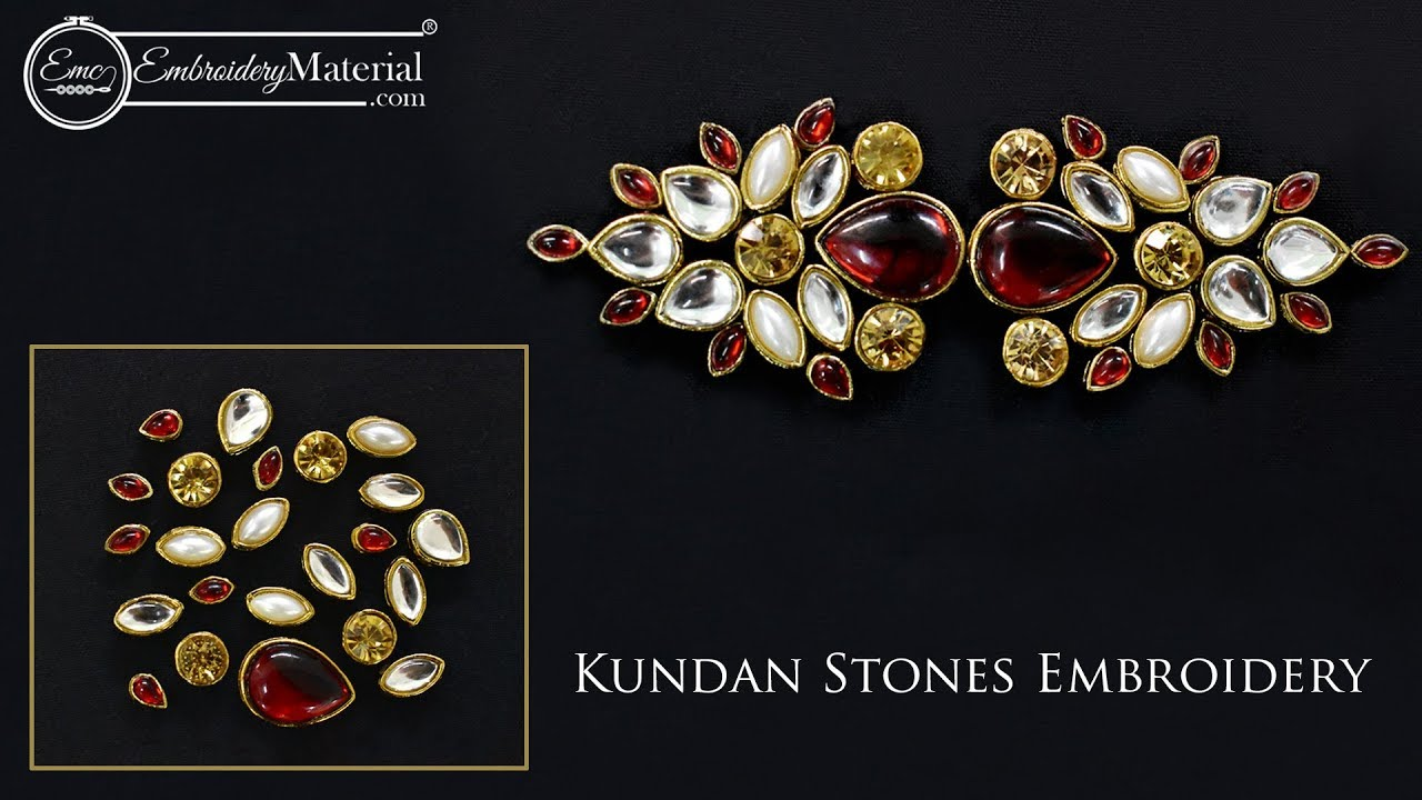 Learn How To Do Kundan Stones Embroidery Work With The Help Of Aari