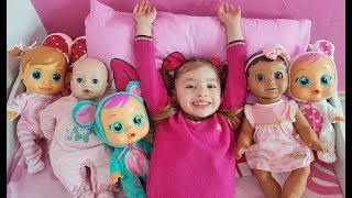 Five little babies jumping on the bed and funny sleeping songs by Dominika show