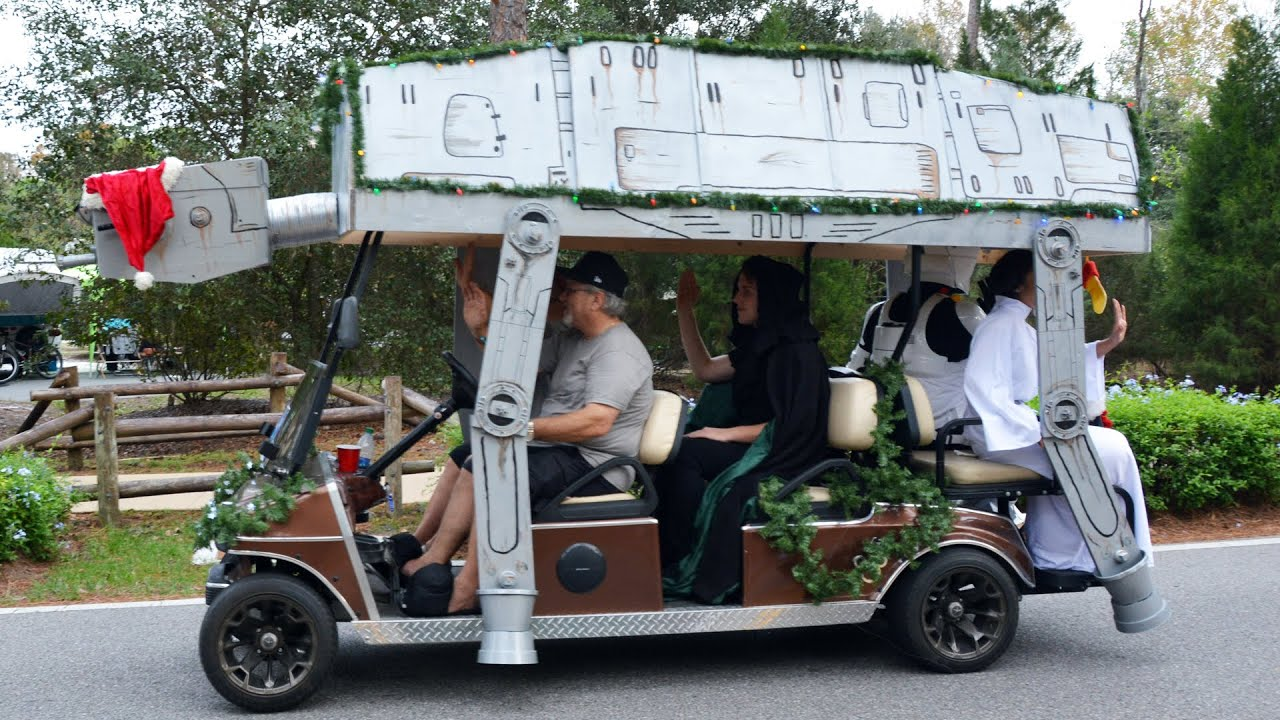 disneys fort wilderness christmas golf cart parade 2015 wstar wars mater carts youtube