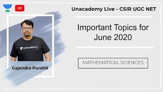 Gambar cover Important Topic June 2020 | Mathematical Sciences | Unacademy Live - CSIR UGC NET | Gajendra Purohit