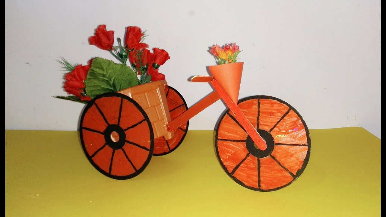 Diy bicycle using cd and popsicle stick best out of for Best out of waste for class 1
