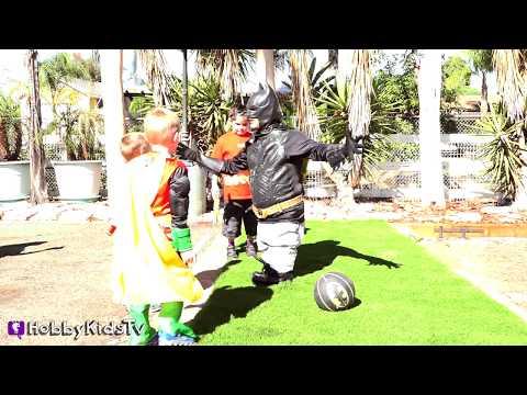 Little BATMAN Hilarious! Shrink Lazor Weight Lifting + Basketball SURPRISES HobbyKidsTV