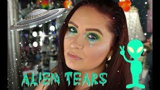 Neon Green & Blue Glitter Eye | HOLO ALIEN TEARS | UD Electric Palette | Brittany Smith