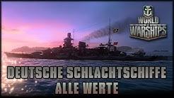 World of Warships - Deutsche Schlachtschiffe - alle Werte / Stats  [ deutsch | Info ]