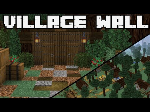 How To Defend Against A Pillager Raid : TAIGA VILLAGE WALL : MINECRAFT 1.14