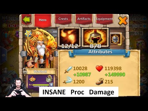 12/12 Skill Warlock INSANE Damage 4 Million+ One Shotting Heroes Castle Clash