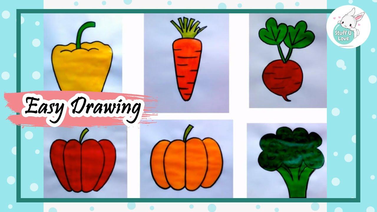 Easy Vegetable Drawing Tutorial for kids - YouTube  Easy Vegetable ...