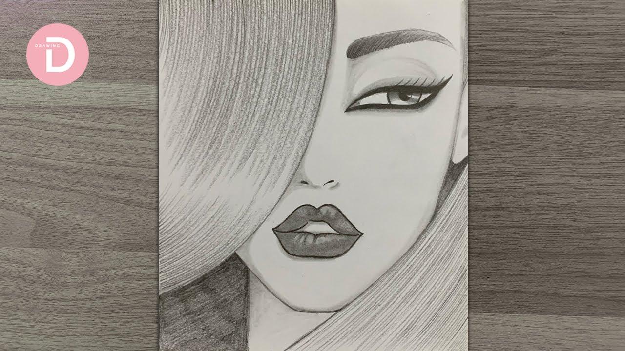 Female face, drawing / pencildrawing