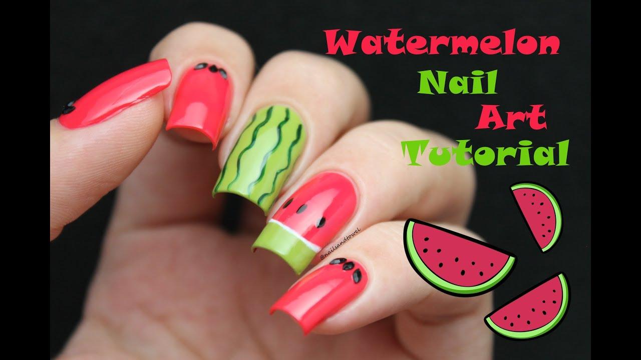 Cute Watermelon Nail Art Tutorial Youtube