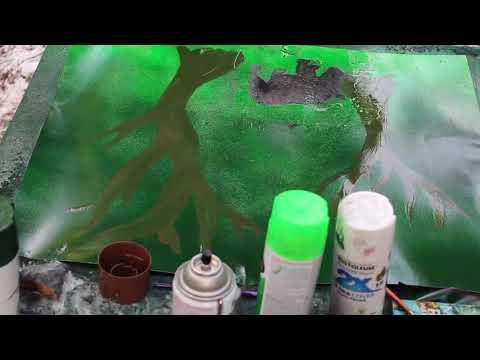 Rhino&Trees Spray Paint Art (experimental)