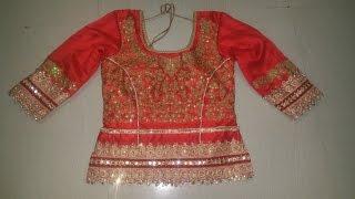 Long choli blouse cutting and stitching