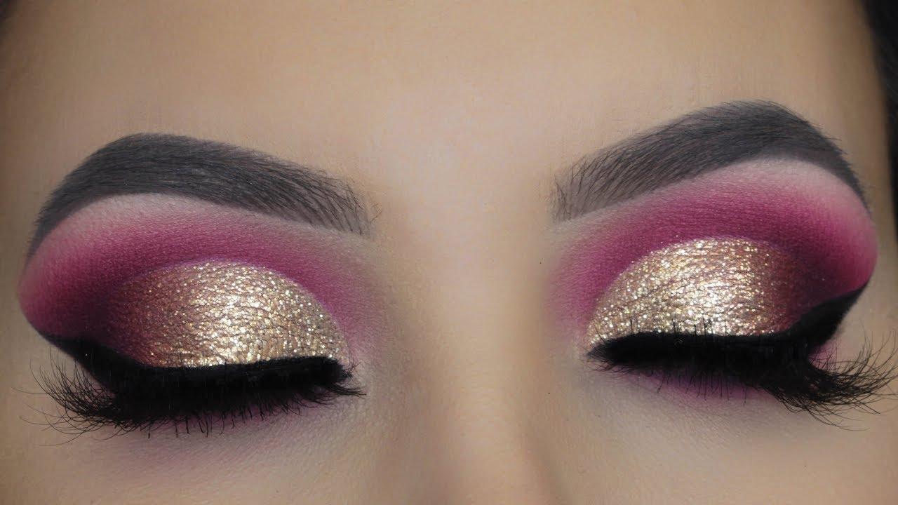 golden glitter cut crease tutorial | asian bridal makeup