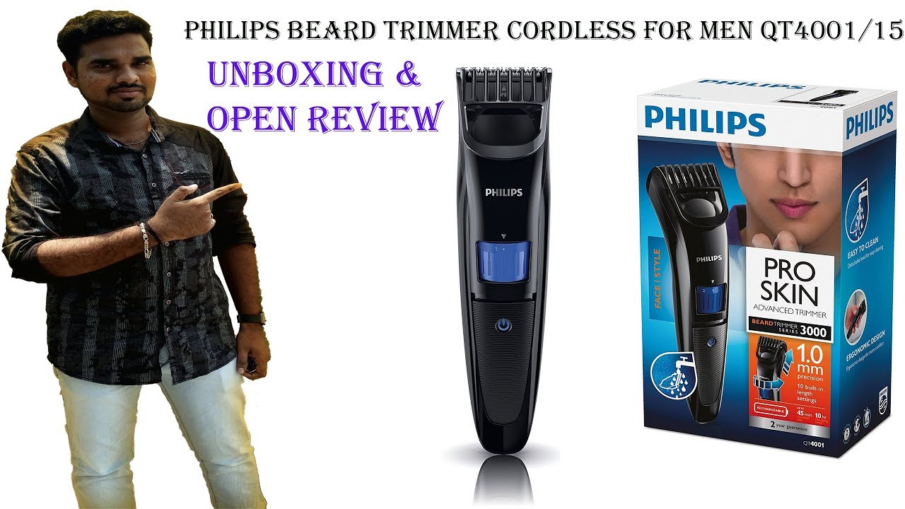 philips beard trimmer cordless for men qt4001 15 unboxin review youtube. Black Bedroom Furniture Sets. Home Design Ideas