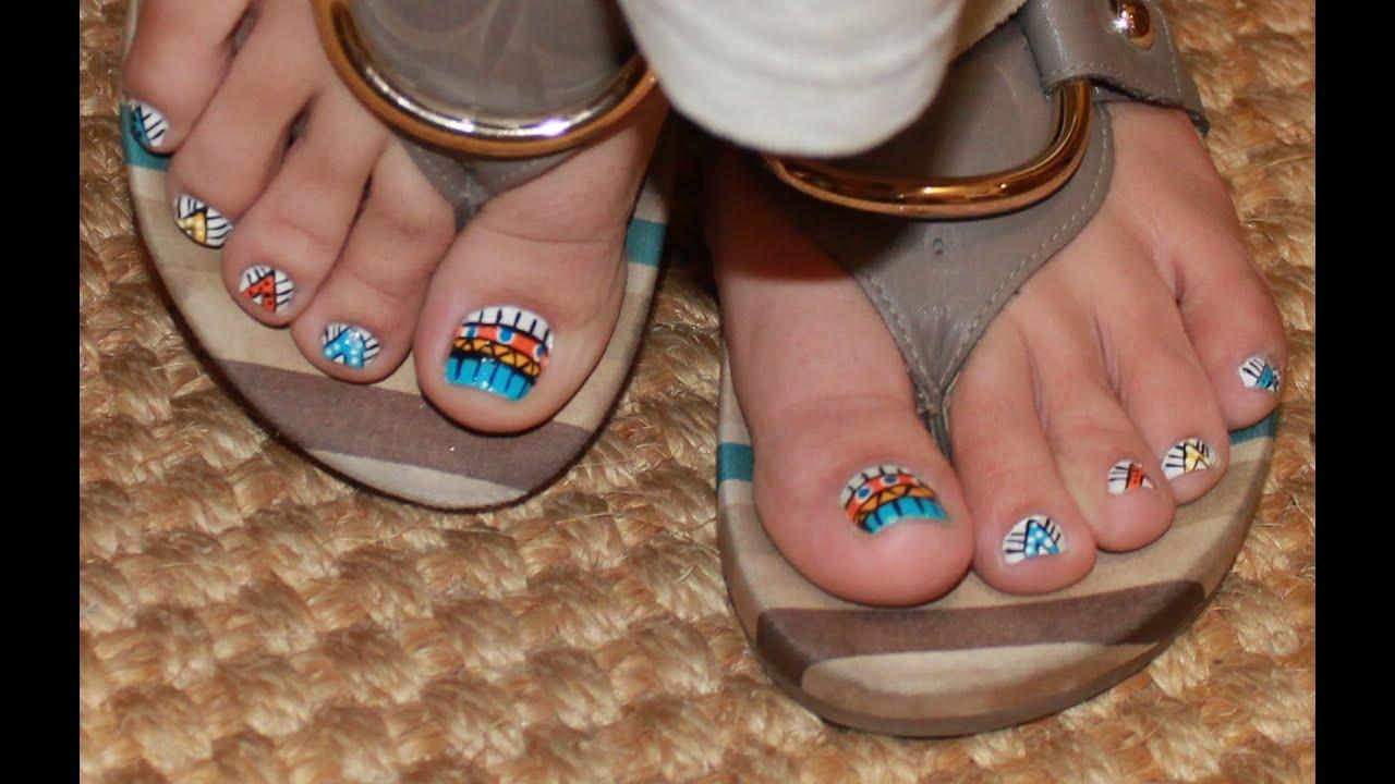 Unhas dos pés decoradas TRIBAL YouTube -> Decoração De Unhas Do Pé