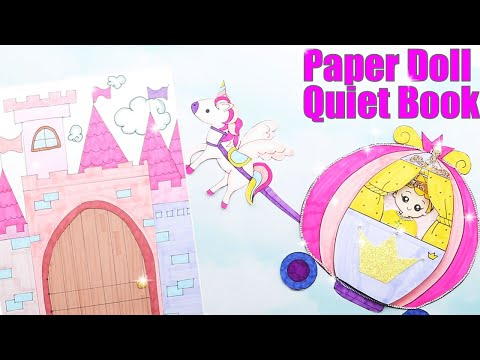 QUIET BOOK DISNEY PRINCESS PAPER DOLLS IN NEW CASTLE DRESS UP AND PLAY|PRINCESS CASTLE DOLLHOUSE