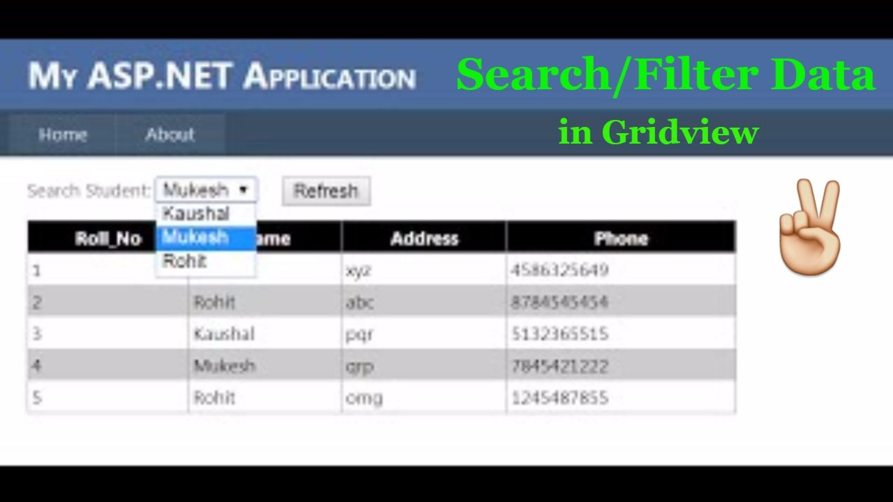 How to search/Filter data in gridview [Asp Net]