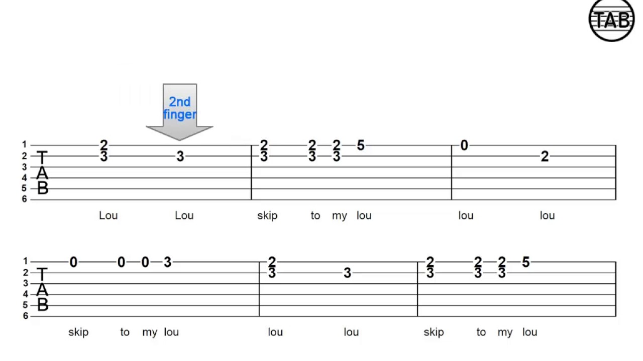 53 Skip To My Lou Tablature With Chord Shape Exercise 1 Youtube