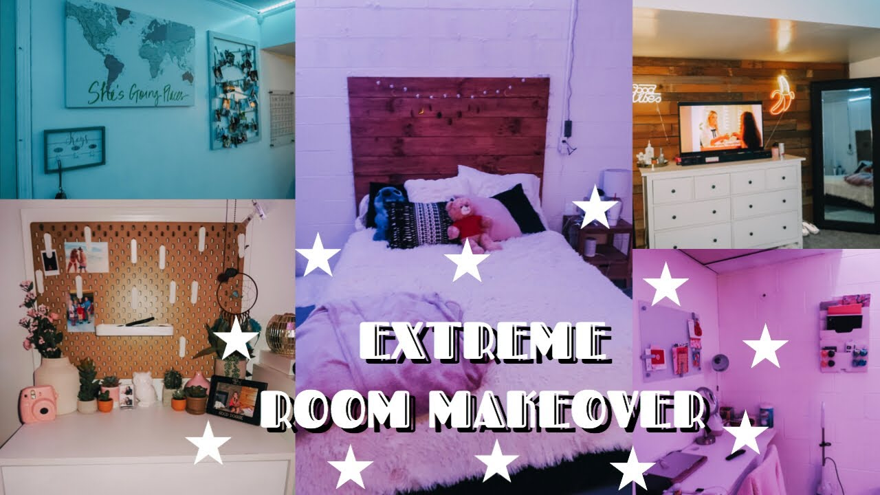 Extreme Room Makeover Re Decorating My Room Led Lights Youtube