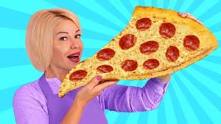 Повторяем невероятную уличную еду со всего мира / Cделали гигантскую пиццу