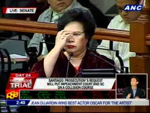 Santiago warns prosecution against SC-Senate clash