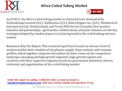 Africa Coiled Tubing Market Estimated to Grow at 6.4% CAGR by 2019