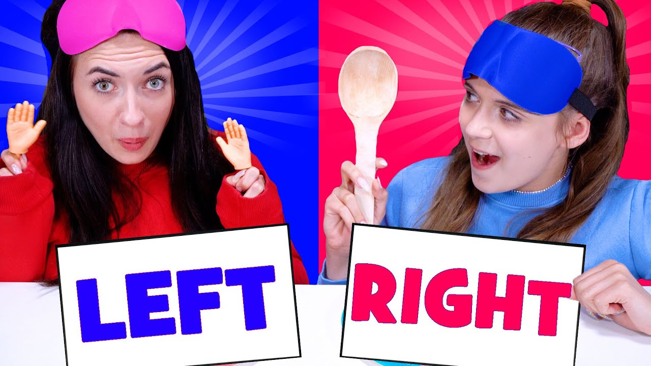 ASMR Left Or Right Food Challenge   Eating Only Wierd Utensils By LiLiBu