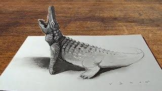 Drawing 3D Crocodile Illusion - Amazing Trick Art - VamosART