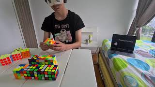 11/12 cubes solved blindfolded in 53:01.97
