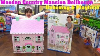 Toy Review: A Pink Dollhouse. Wooden Country Mansion Dollhouse Unboxing & Playtime