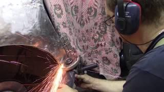 Переделка хламового крыла споттером. Body repair after an accident.