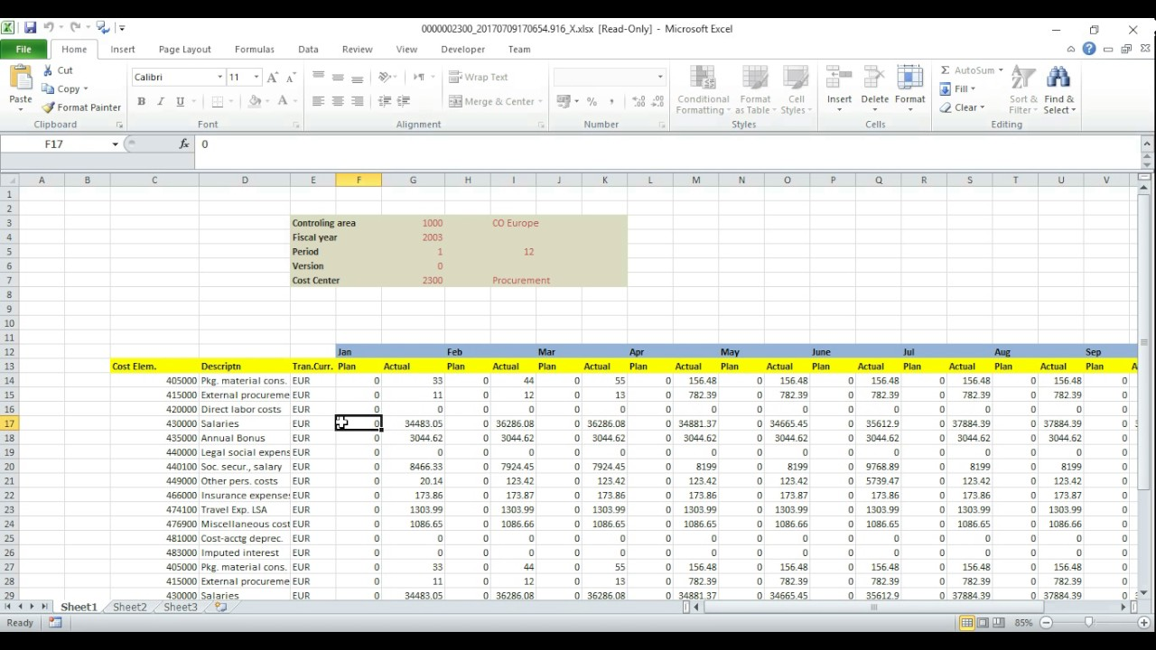 sap cost center planning and budgeting using excel youtube