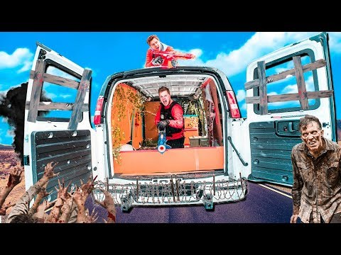 Box Fort Zombies CAR Survival! 24 Hour ZOMBIES Nerf War Z