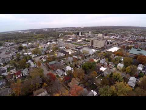 Downtown Lafayette, Indiana From Above (4K)