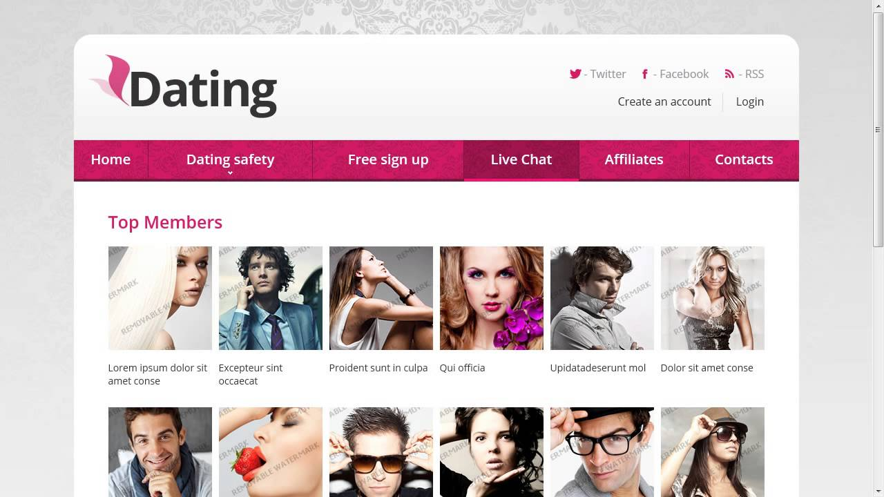 Dating Responsive Website Template Youtube