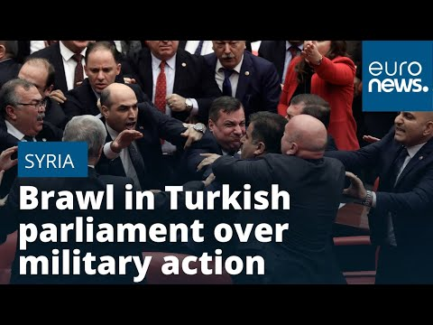 Brawl in Turkish parliament over military action in Syria