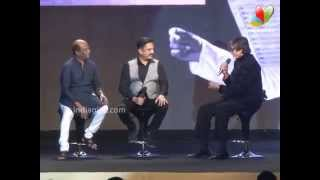 Rare Moment: Rajini, Kamal, Amithabh talk about working with Ilayaraja   Shamitabh Audio Launch
