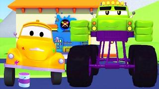 Oficina de Pintura do Tom: Marley é o Hulk   Desenhos animados de caminhão para crianças