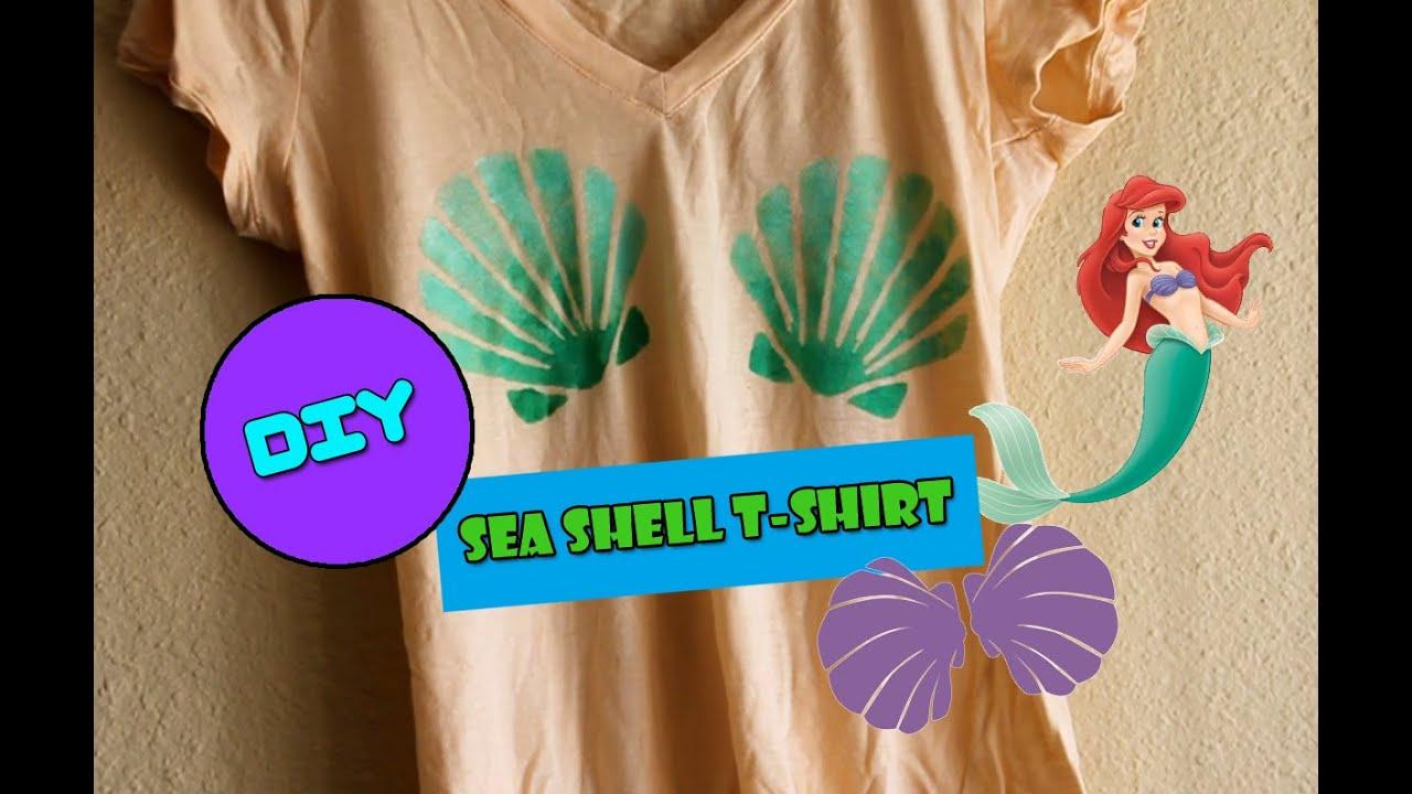 diy mermaid sea shell printed t shirt youtube. Black Bedroom Furniture Sets. Home Design Ideas